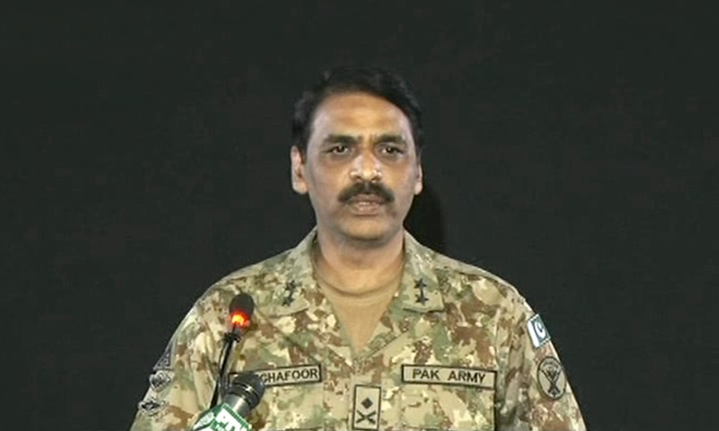 Maj Gen Asif Ghafoor addressing a press conference on Tuesday. — DawnNewsTV