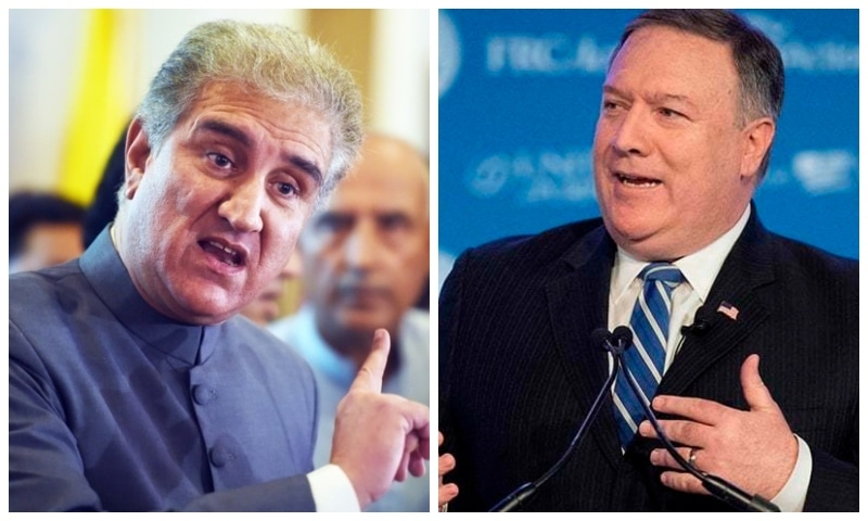 Qureshi and Pompeo exchange views about peace in the region. — Photos courtesy AFP