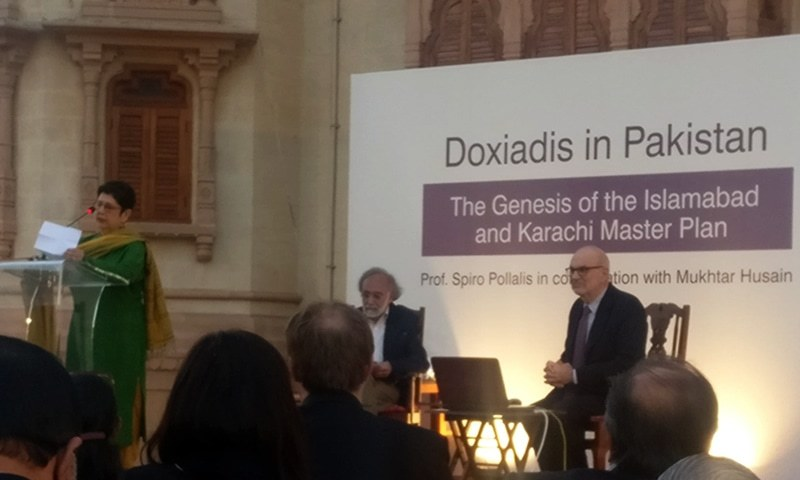 Professor Spiro Pollalis (R) on the stage with architect Mukhtar Husain at the Mohatta Palace Museum on Tuesday. — Photo by author