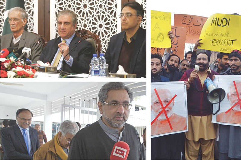 GOVERNMENT ministers, leaders of opposition parties and common Pakistanis spoke with one voice on Tuesday against violation of the country's airspace by Indian aircraft. (Clockwise from top) Foreign Minister Shah Mehmood Qureshi addresses a press conference as Defence Minister Pervez Khattak and Finance Minister Asad Umar look on; people shout slogans against India during a demonstration in Peshawar; and, opposition leaders Shahid Khaqan Abbasi, Khawaja Mohammad Asif and Ahsan Iqbal leave the parliament after asserting on the floor of the house that the nation was united in the face of aggression.—Agencies