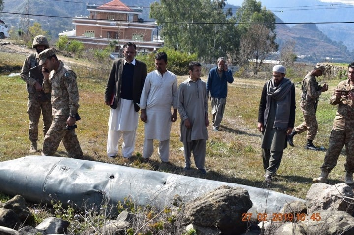 Wreckage from one of the Indian aircraft shot down. — Photo: ISPR