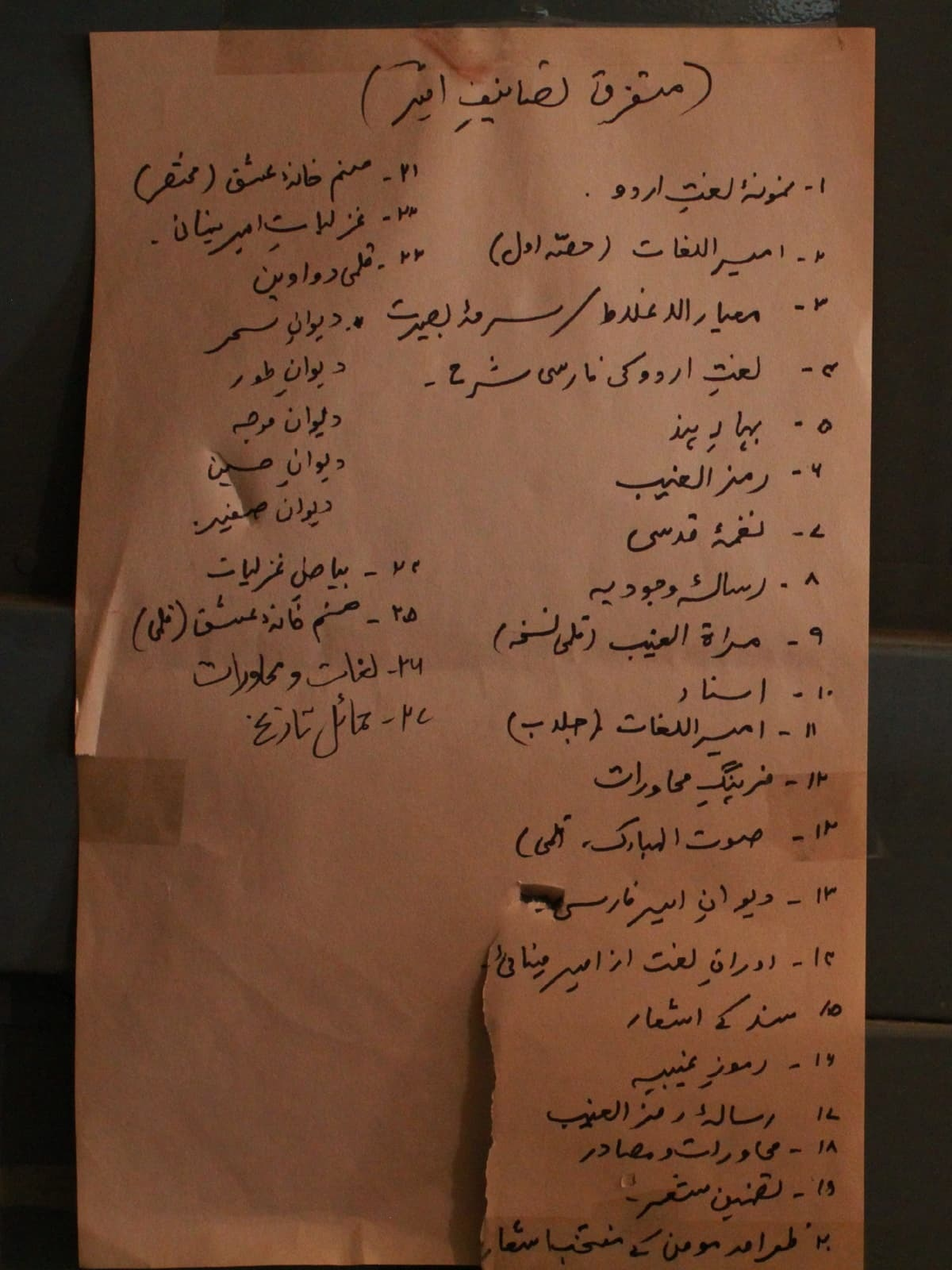 A list of contents pasted inside one of the cupboards in Israil Minai's study