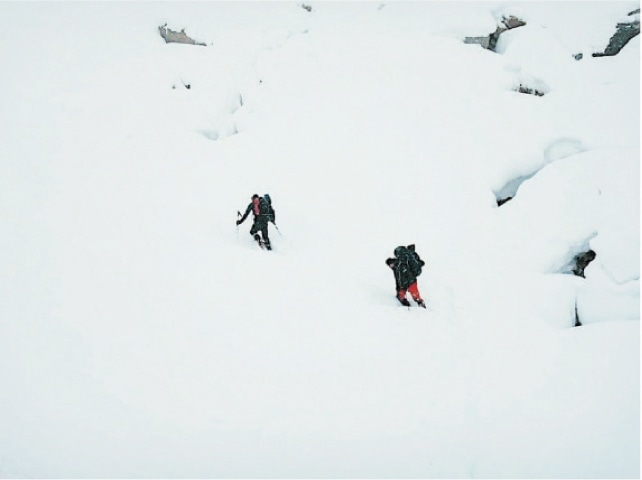 Daniel Nardi and Tom Ballard ascending near camp 1 of Nanga Parbat.