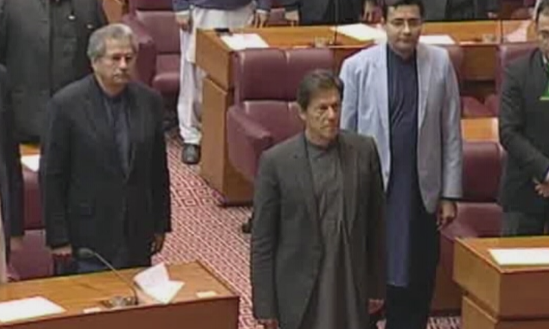 Prime Minister Khan addressed the parliament. — DawnNewsTV