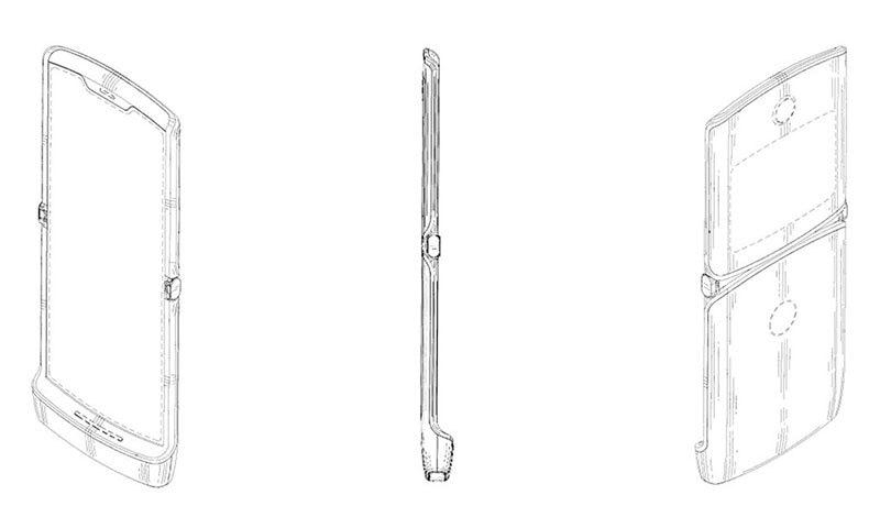 موٹرولا کا رجسٹر کرایا گئے پیٹنٹ میں فولڈ ایبل فون کا ڈیزائن — فوٹو بشکریہ WAPO