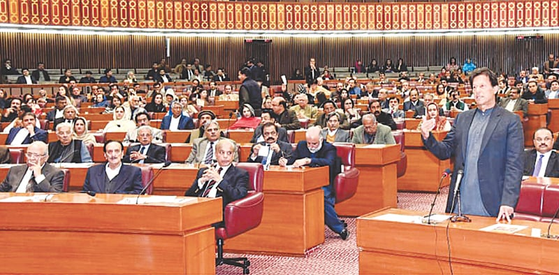 ISLAMABAD: Prime Minister Imran Khan addressing the joint session of parliament on Thursday.—White Star