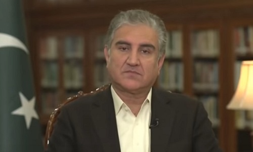 Screengrab of Foreign Minister Shah Mahmood Qureshi giving an interview to CNN journalist. Christiane Amanpour.
