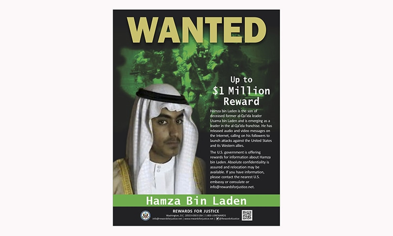 This wanted poster released by the US Department of State Rewards for Justice programme shows Hamza bin Laden. — AP