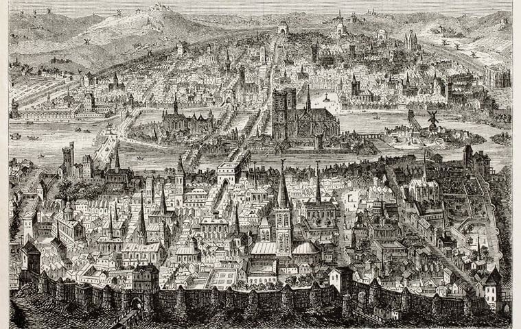 A bird's-eye view of old Paris. After print of late 16th century, published on Magasin Pittoresque, Paris, 1845