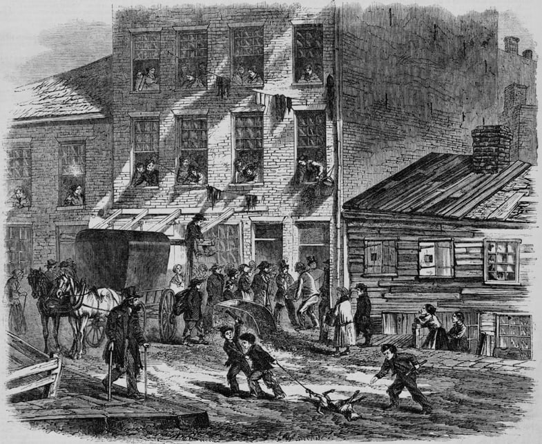 Depressing scene of poverty at Five Points in New York City. People at a tenement house watch men carry out a coffin; in the street, two boys drag a dead dog by one leg. Wood engravings of 1865.