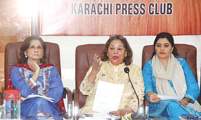 Chairperson of the Sindh Commission on the Status of Women Nuzhat Shirin speaks at the press conference on Friday.—PPI