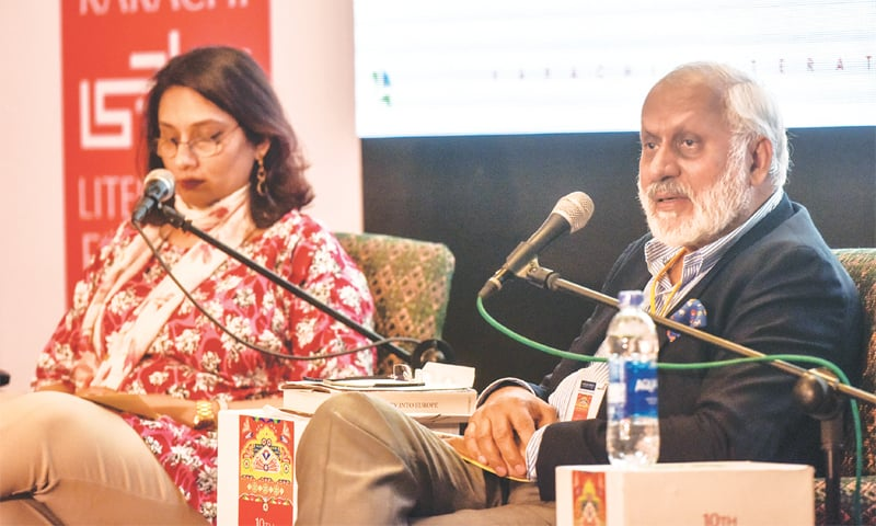 Shafqat Ali Shah Jamote speaks at the event on Saturday.—White Star