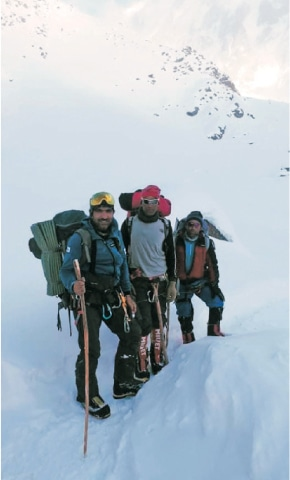 Mohammad Ali Sadpara and his two colleagues during their search for the missing mountaineers. — Dawn