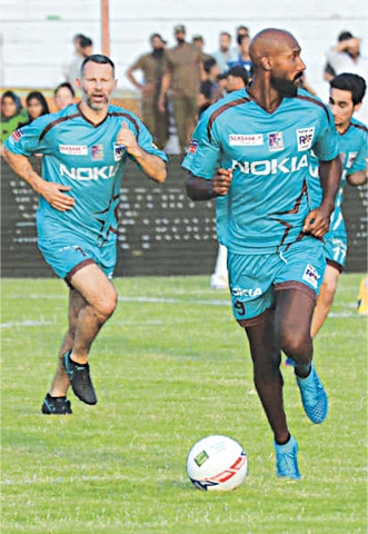 NICOLAS Anelka (R) in action during a July 9, 2017 exhibition match in Lahore.