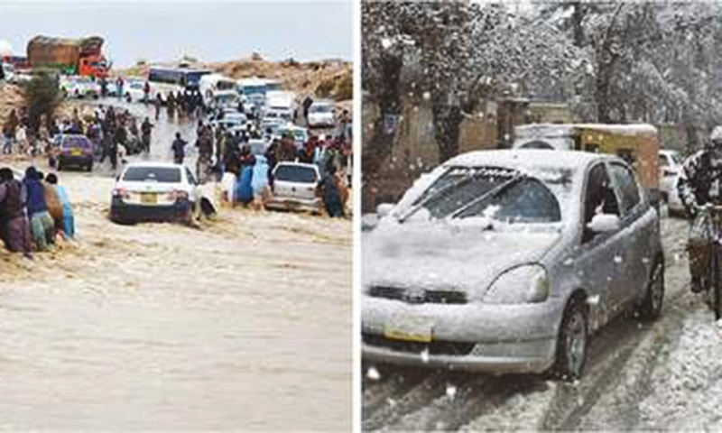 Quetta: Motorists (left) face inconvenience due to flooding in C-Avenue on Saturday and (right) people commute during heavy snowfall.—Agencies