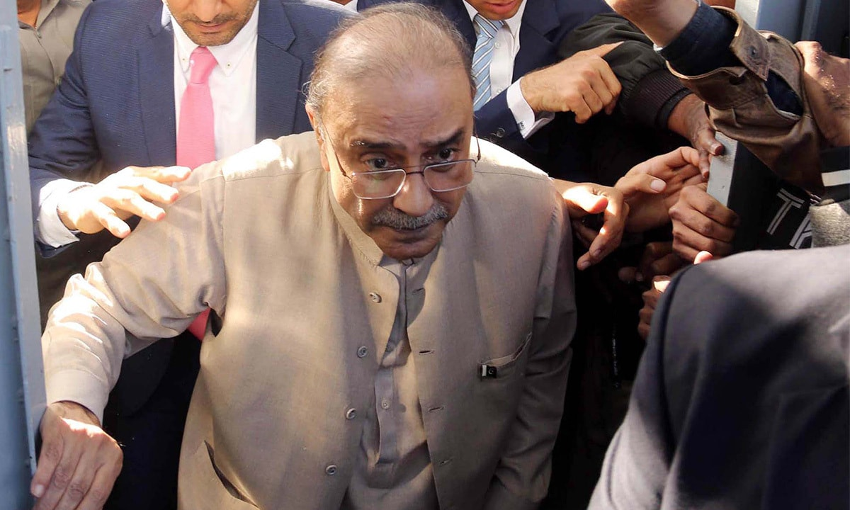 Zardari arrives for the hearing of the fake accounts case at a banking court in Karachi | PPI