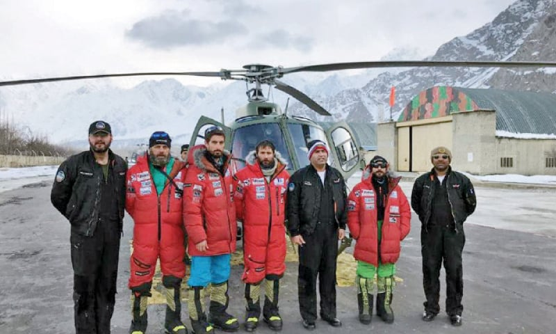 Spanish climbers and the rescue team at Skardu. — Dawn