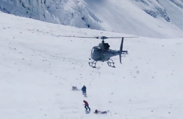 An Army Aviation helicopter at Camp-1 of Nanga Parbat. — Dawn