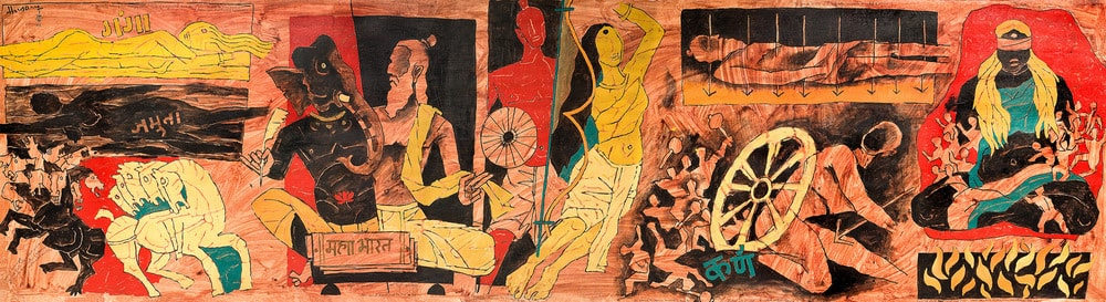 Cover  M.F. Husain's Mahabharata,1990, oil on canvas, 129.5 × 477.5 cm. Courtesy the Chester and Davida Herwitz Collection, Peabody Essex Museum, Salem.