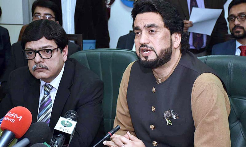 Minister of State for Interior Shehryar Afridi and Ministry of Interior Secretary Azam Suleman Khan hold a press conference on Tuesday. — APP