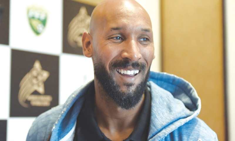 Former France striker Nicolas Anelka was in Pakistan on Tuesday. — Photo by Tanveer Shahzad/White Star