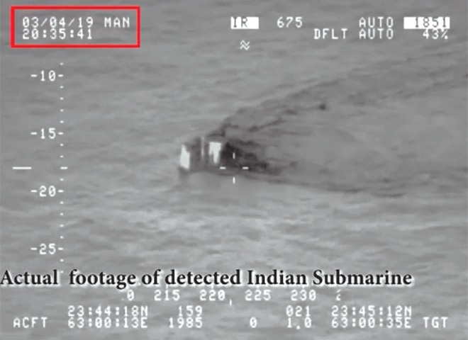 THIS image taken from a video shows the Indian submarine approaching the territorial waters of Pakistan.—AP