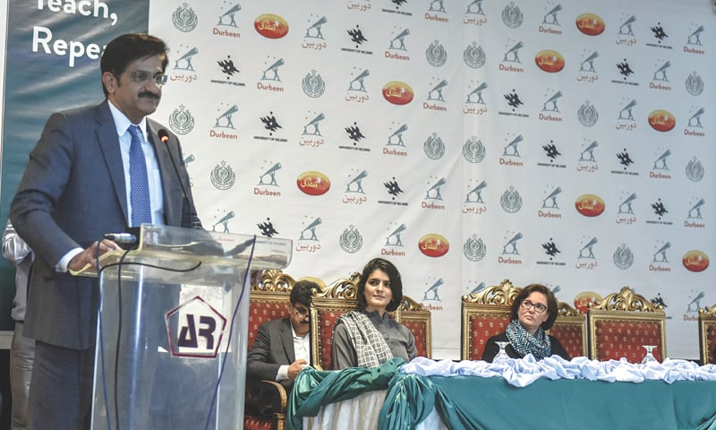 CHIEF Minister Syed Murad Ali Shah speaks at the event.—White Star