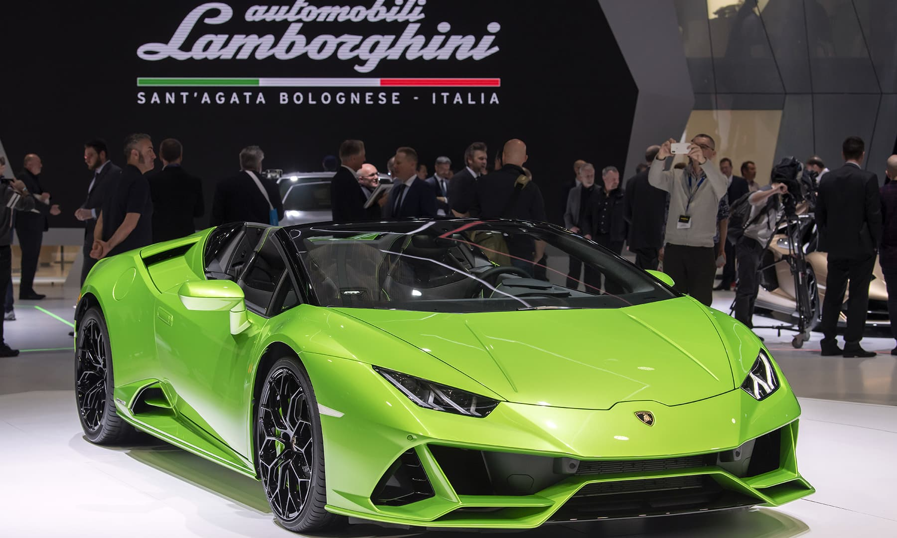 The Lamborghini Huracan EVO Spyder is presented during the press day at the 89th Geneva International Motor Show'in Geneva, Switzerland. — AP