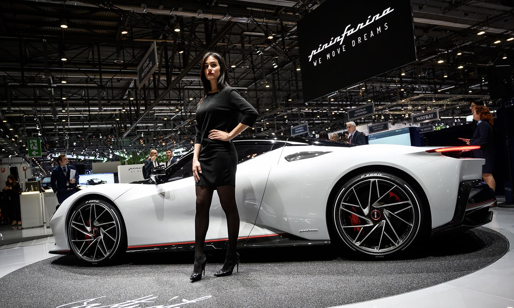 The new Pininfarina Battista model car is seen at the booth of the Italian carmaker on March 5 during a press day ahead of the Geneva International Motor Show. — AFP