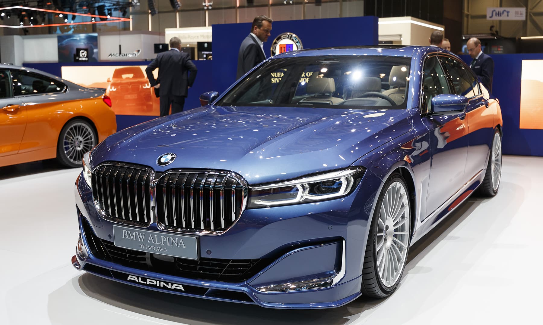 The BMW Alpina B7 is presented during the press day at the Geneva motor show. — AP