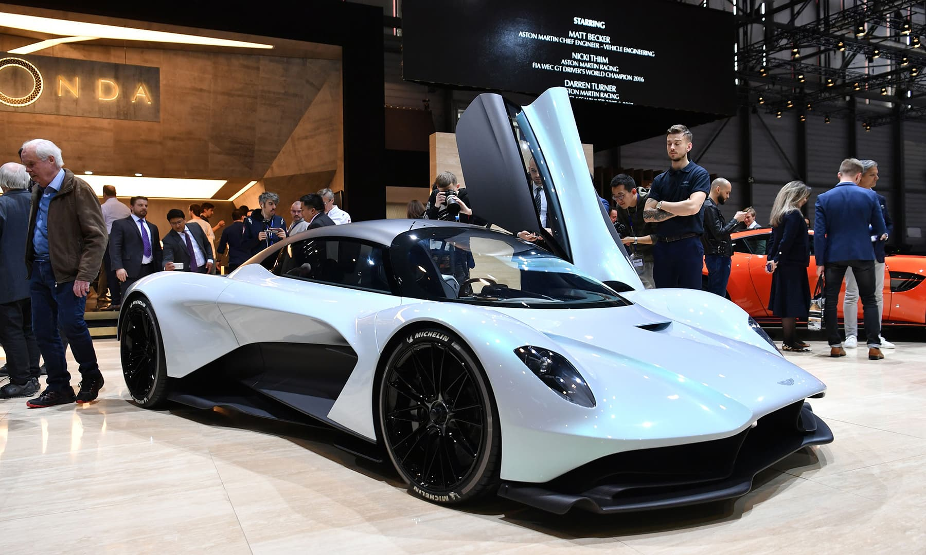 The Aston Martin AM-RB 003 is displayed during a press day ahead of the Geneva International Motor Show in Geneva. — AFP