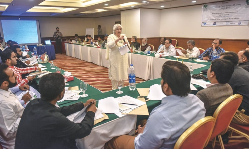 AMBER Alibhai, the general secretary of Shehri-CBE, speaks at the workshop on Wednesday.—White Star
