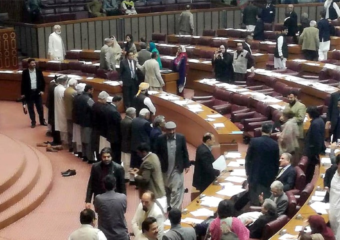 ISLAMABAD: Members from opposition offering Maghrib prayer for the first time in National Assembly on Wednesday.—INP