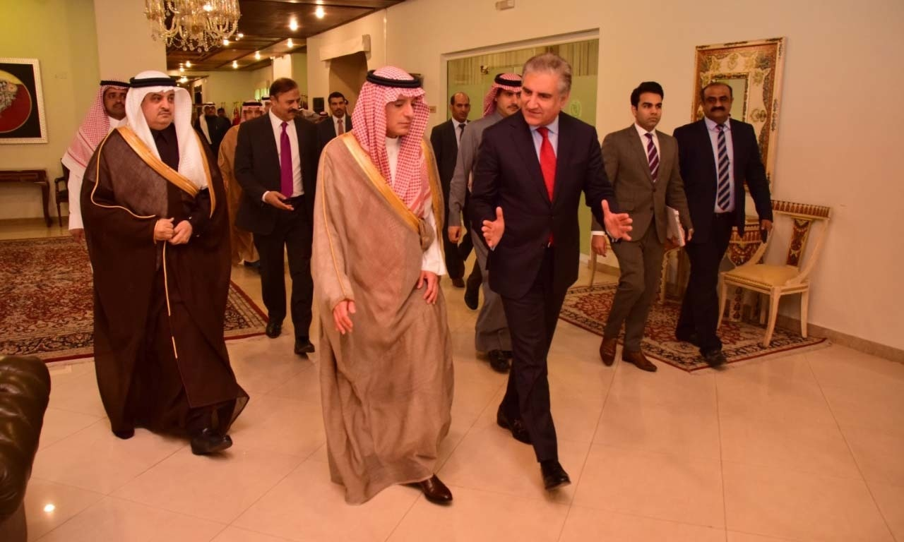 Saudi State Minister for Foreign Affairs Adel al-Jubeir with Foreign Minister Shah Mahmood Qureshi on March 7, 2019. — Photo: Foreign Office