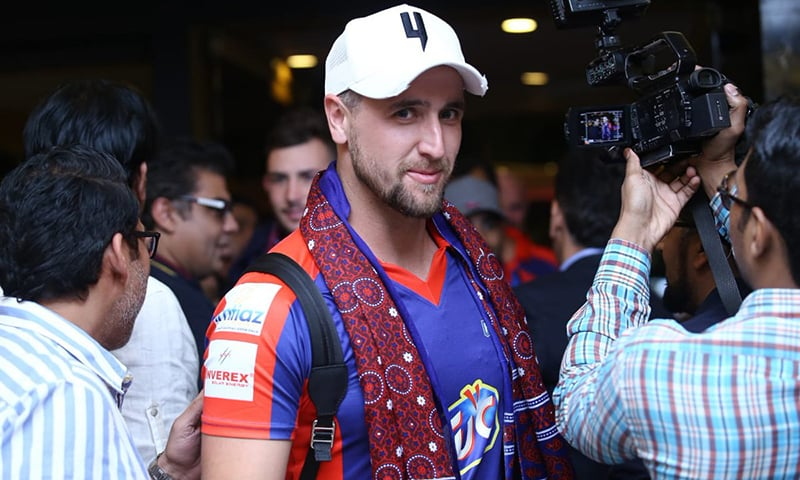Liam Livingstone is pictured upon his arrival in Karachi on March 8, 2019. — PSL