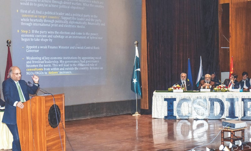 DR Ashfaque Hasan Khan speaks at the conference at NED University on Friday.—Fahim Siddiqi/White Star