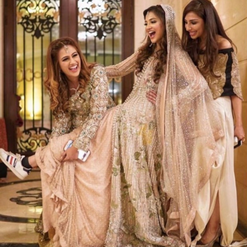 A Sana Safinaz bride paired her lehnga with Adidas sneakers