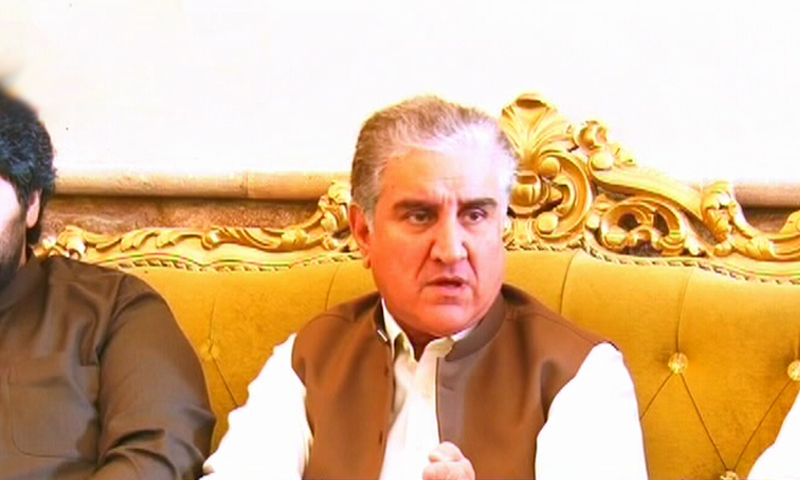 Foreign Minister Shah Mahmood Qureshi talks to media in Sukkur. — DawnNewsTV