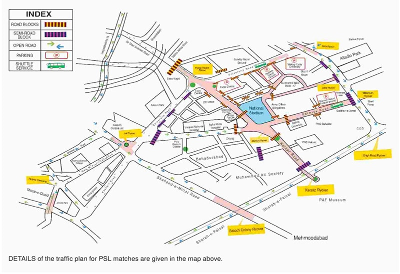 Map showing parking spots, shuttle service point and drop points. — Dawn Newspaper