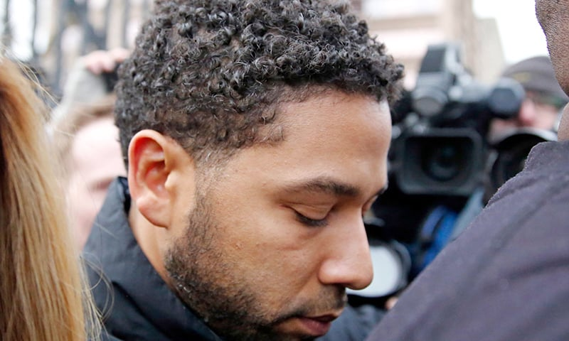 In this file photo taken on February 21, 2019, Empire actor Jussie Smollett leaves Cook County jail after posting bond in Chicago. — AFP