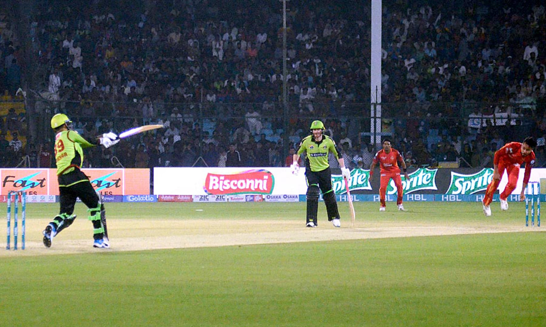 A view of the match between the Qalandars and United teams played at the National Stadium in Karachi. — APP
