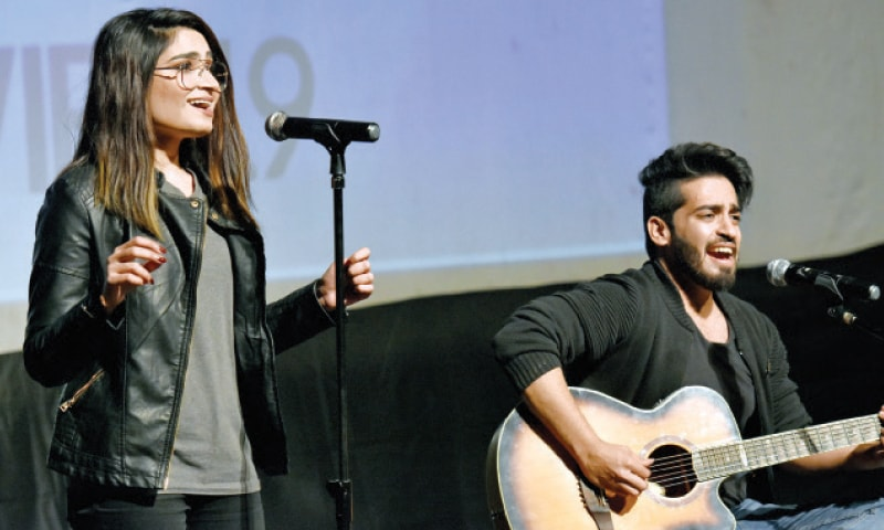 Musicians Laraib and Anas Raja perform at the closing ceremony of the International Women Film Festival on Saturday. — White Star