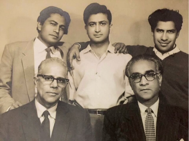 Suroor Barabankvi (back row right) with Haroon (back row centre), one of the actors in Aakhri Station [The Last Station]. The 1965 film was directed by Barabankvi, who also wrote the lyrics for its songs | Vintage Pakistan