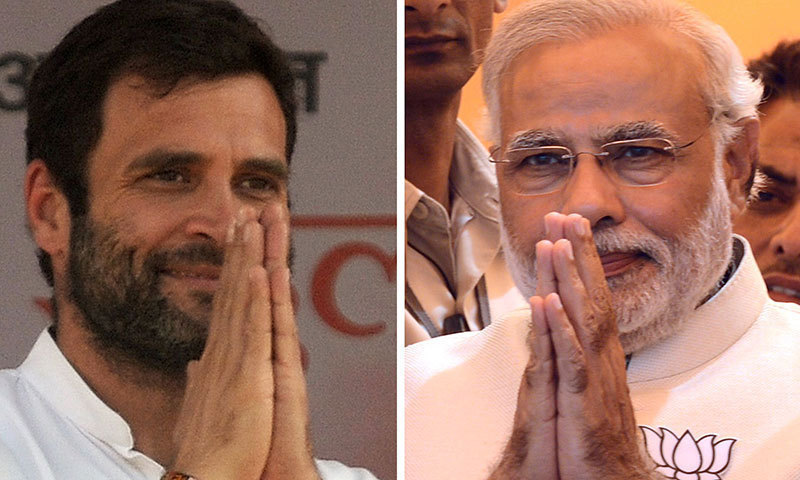 The election will see Prime Minister Narendra Modi [right] run for a second term against Rahul Gandhi, the latest scion of the Gandhi-Nehru dynasty. — AFP/File