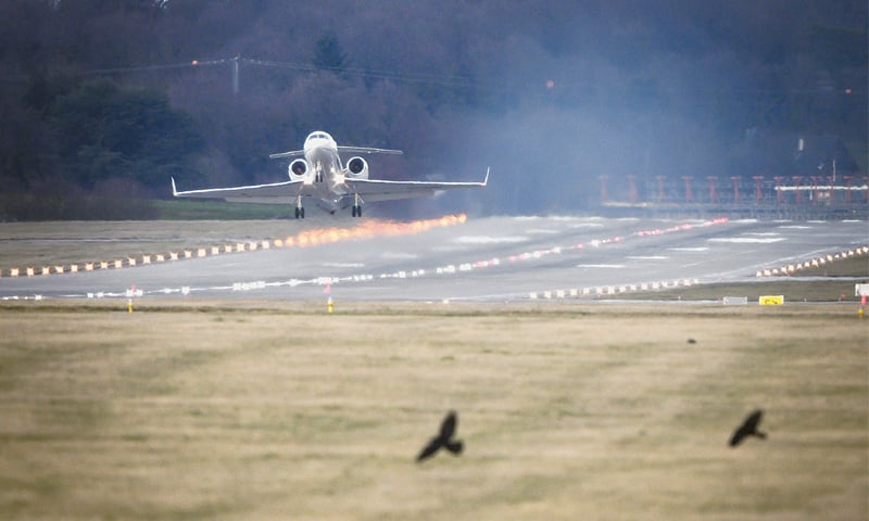 Geneva: An Algerian government plane believed to be carrying President Abdelaziz Bouteflika is seen taking off from Geneva Airport on Sunday.—AFP