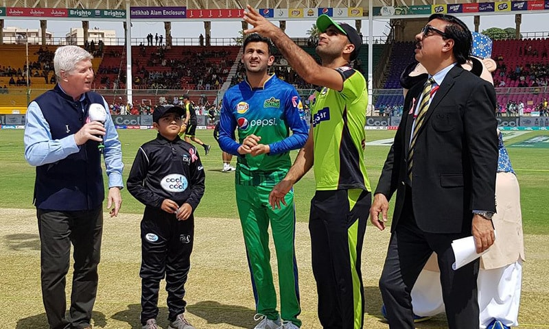 Fakhar Zaman flips the coin for match toss. — PSL