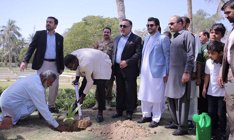ڈیرن سیمی نے گورنر ہاؤس میں پودا لگایا — فوٹو: پشاور زلمی