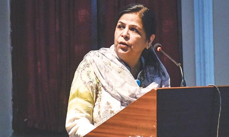 DR Seema Irfan speaks at the seminar on Monday.—White Star