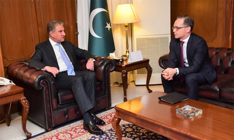 Foreign Minister Shah Mahmood Qureshi and his German counterpart Heiko Maas meet in Islamabad. — Photo courtesy Radio Pakistan