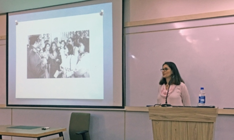 Ayesha Khan at IBA for a guest lecture on Women's Activism and New Directions in Pakistan -- Photo courtesy: IBA'S official website
